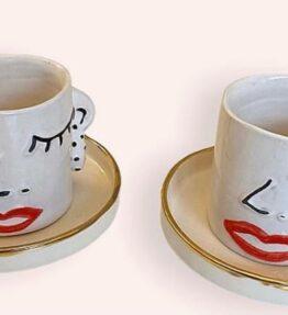 Seramik El Yapımı Kahve Fincan Takımı