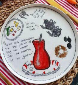 Seramik El Boyaması 22 cm Çay Temalı Yemek Tabağı