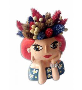 Küçük Kız Çiçekli Saksı
