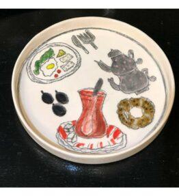 Seramik el boyaması çay temalı bardak altı tabak