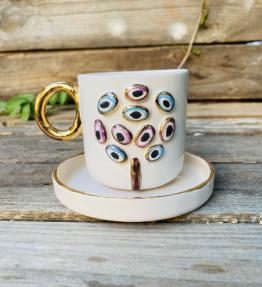 24K Altın Detaylı Double Boy Seramik El Yapımı Kahve Fincanı