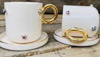 24 K Altın Detaylı Double Boy Seramik El Yapımı Çift Kahve Fincanı